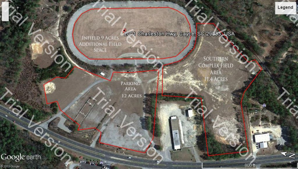 Aerial view of the future Congaree Rapid Soccer facility located on the Southern Complex of the Historic Columbia Speedway. This project is estimated at $300,000 to make a reality. If you know of a corporate sponsor or developer that could assist us in building this facility, please contact a CRSA Board member